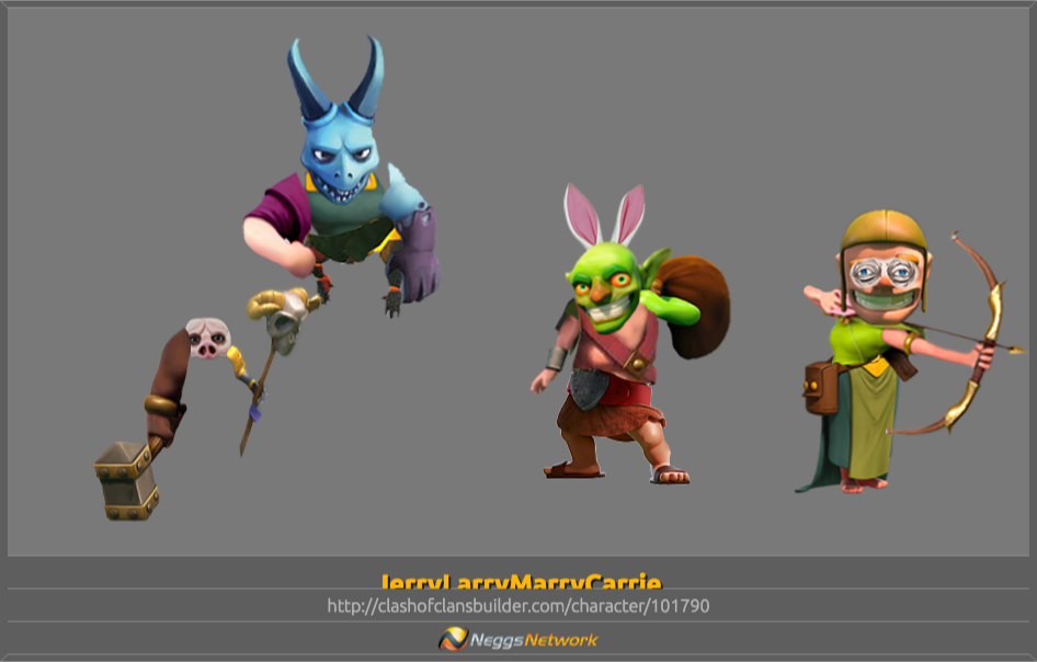 Jerrylarrymarrycarrie Character Clash Of Clans Builder