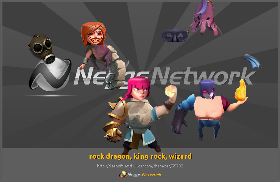 rock dragon, king rock, w Character - Clash of Clans Builder